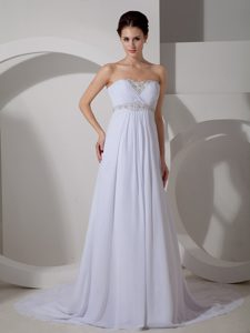 Strapless Court Train Ruched Chiffon Wedding Dress with Appliques on Sale