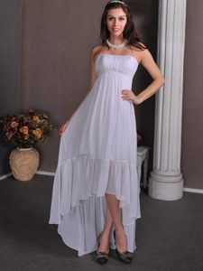 Strapless High-low White Chiffon Wedding Dress with Beading and Ruching
