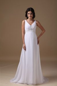 Lovely Empire V-neck Brush Train Wedding Gown with Beading