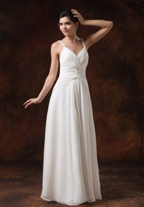 Wholesale Price Straps Ruched Wedding Gown to Long