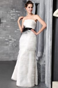 Exclusive Empire Strapless Bridal Gowns in Organza with Ruffles and Sash