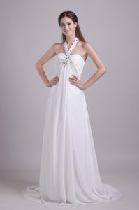 Empire Halter Wedding Bridal Gown with Beading and Brush Train