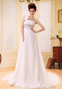 Custom Made Beaded Bridal Gown with Spaghetti Straps and Watteau Train
