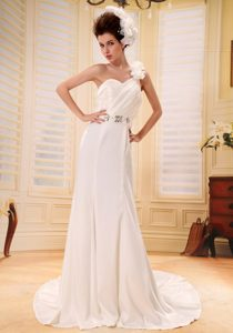 Affordable One Shoulder Beaded and Ruched Wedding Dress with Flowers