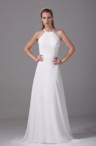 Spaghetti Straps Chiffon Wedding Reception Dress with Cris Cross