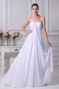 Fitted One Shoulder Empire Chiffon Wedding Gown with Beading and Ruche