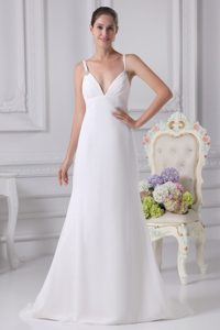 Simple A-line Spaghetti Straps Chiffon Bridal Gown with Ruche and Beading
