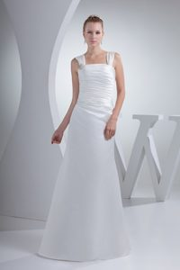 Perfect Wide Straps Square Sheath Dress for Brides with Ruche and Beading