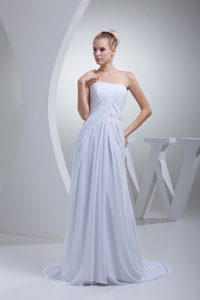 Strapless Empire Sweep Train Wedding Bridal Gowns with Beading and Belt