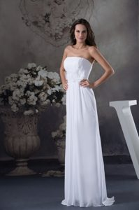 Strapless Ruched Long Bridal Gown with Handle Flowers and Sash