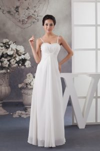 Spaghetti Straps Chiffon Dress for Wedding with Ruche and Beading