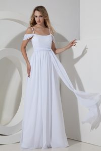 Inexpensive Empire Straps Chiffon Bridal Dresses with Ruche to Long