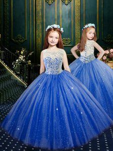 Scoop Blue Sleeveless Tulle Clasp Handle Pageant Dress Toddler for Party and Wedding Party