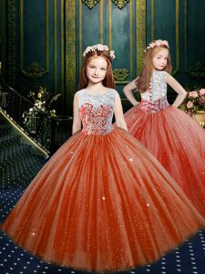 Hot Sale Scoop Floor Length Ball Gowns Sleeveless Orange Red Pageant Dress for Teens Clasp Handle