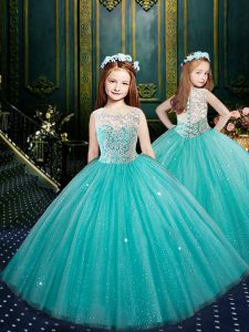 Amazing Scoop Clasp Handle Blue Sleeveless Appliques Floor Length Pageant Dress for Teens