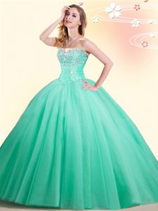 Ball Gowns Sweet 16 Dress Apple Green Sweetheart Tulle Sleeveless Floor Length Lace Up
