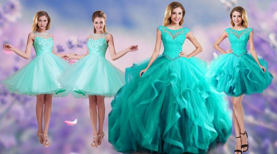 Custom Fit Scoop Aqua Blue Sleeveless Floor Length Beading and Appliques and Ruffles Lace Up Vestidos de Quinceanera