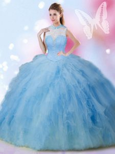 New Style Sleeveless Floor Length Beading and Ruffles Lace Up 15 Quinceanera Dress with Baby Blue