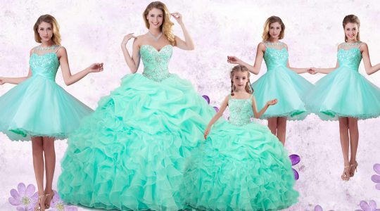 Classical Beading and Ruffles and Pick Ups Quince Ball Gowns Apple Green Lace Up Sleeveless Floor Length