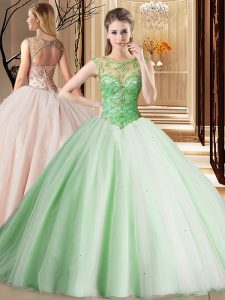 Fancy Scoop Lace Up Quince Ball Gowns Apple Green for Military Ball and Sweet 16 and Quinceanera with Beading Brush Trai