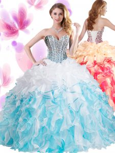 Blue And White Lace Up Ball Gown Prom Dress Beading and Ruffles Sleeveless Floor Length