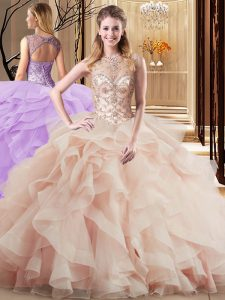 Extravagant Tulle Scoop Sleeveless Brush Train Lace Up Beading and Ruffles Quinceanera Gown in Peach