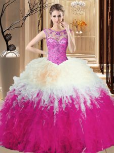 Multi-color Ball Gowns Scoop Sleeveless Tulle Floor Length Lace Up Beading Quinceanera Dress