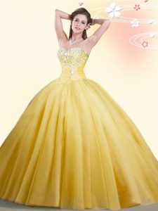 Beading Quinceanera Gowns Gold Lace Up Sleeveless Floor Length