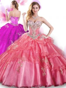 Sweetheart Sleeveless Lace Up 15th Birthday Dress Coral Red Organza