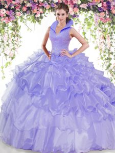 Backless Organza Sleeveless Floor Length Quince Ball Gowns and Beading and Ruffled Layers