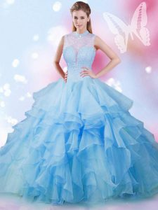 Baby Blue Sleeveless Beading and Ruffles Floor Length 15 Quinceanera Dress