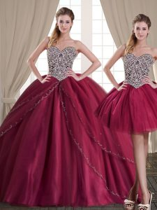 Modest Three Piece Burgundy Ball Gowns Beading Quinceanera Gown Lace Up Tulle Sleeveless Floor Length
