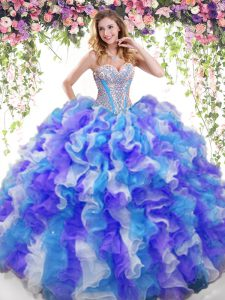 Customized Sweetheart Sleeveless Organza Ball Gown Prom Dress Beading and Ruffles Lace Up