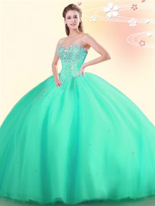 Beading Quince Ball Gowns Apple Green Lace Up Sleeveless Floor Length