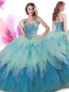 Custom Designed Floor Length Multi-color Sweet 16 Dress Sweetheart Sleeveless Lace Up