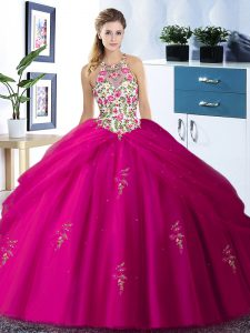 Exquisite Pick Ups Floor Length Fuchsia 15 Quinceanera Dress Halter Top Sleeveless Lace Up