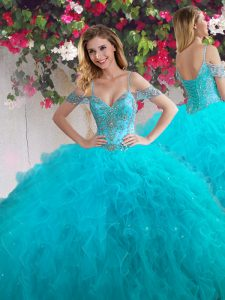 Off the Shoulder Teal Sleeveless Floor Length Beading and Ruffles Lace Up Quince Ball Gowns