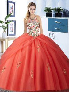 Glittering Halter Top Floor Length Orange Red Vestidos de Quinceanera Tulle Sleeveless Embroidery and Pick Ups