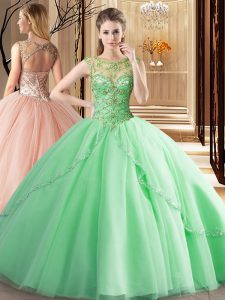 Scoop Sleeveless Tulle Brush Train Lace Up Sweet 16 Dresses in Apple Green with Beading