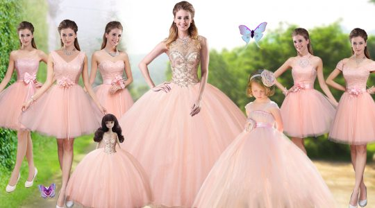 Sleeveless Tulle Floor Length Lace Up Sweet 16 Dresses in Peach with Beading