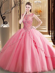 Watermelon Red Sweet 16 Dresses Military Ball and Sweet 16 and Quinceanera and For with Beading Scoop Sleeveless Brush T