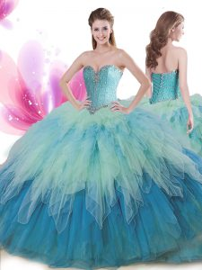 Modest Multi-color Tulle Lace Up Sweetheart Sleeveless Floor Length Quinceanera Dress Beading and Ruffles