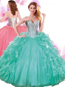 Affordable Turquoise Sleeveless Organza Lace Up Ball Gown Prom Dress for Military Ball and Sweet 16 and Quinceanera