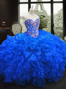Popular Royal Blue Sleeveless Embroidery and Ruffles Floor Length Ball Gown Prom Dress