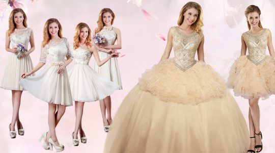Scoop Beading and Ruffles Sweet 16 Quinceanera Dress Champagne Lace Up Sleeveless Floor Length