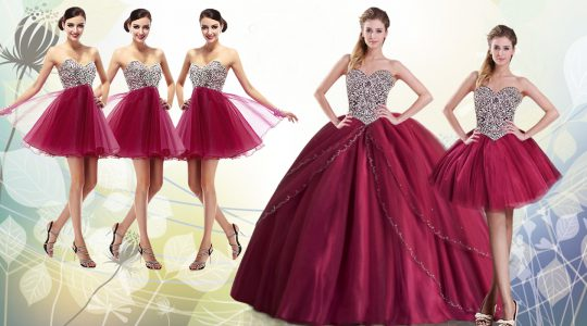 Burgundy Tulle Lace Up Sweetheart Sleeveless With Train Quinceanera Gowns Brush Train Beading