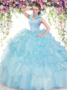 Backless Organza Sleeveless Floor Length Quinceanera Dresses and Beading and Ruffled Layers
