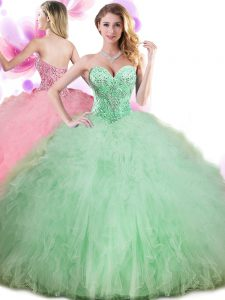 Sweet Apple Green Lace Up Quinceanera Dress Beading and Ruffles and Pick Ups Sleeveless Floor Length