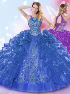 Royal Blue Ball Gowns Halter Top Sleeveless Organza Floor Length Lace Up Appliques and Ruffled Layers Ball Gown Prom Dre