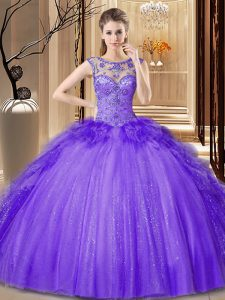 Enchanting Scoop Sleeveless Tulle Floor Length Lace Up Quinceanera Gowns in Purple with Sequins